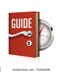 Guide book with compass as door to knowledge