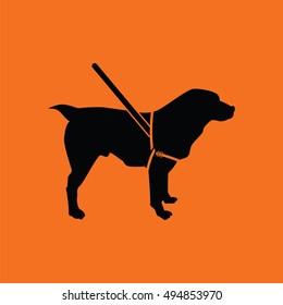 Guide dog icon. Orange background with black. Vector illustration.