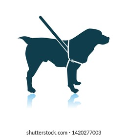 Guide Dog Icon. Shadow Reflection Design. Vector Illustration.