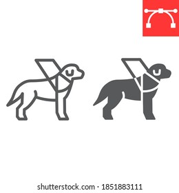 Guide dog line and glyph icon, disability and labrador, service dog sign vector graphics, editable stroke linear icon, eps 10