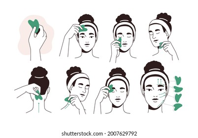 Guide for face lifting massage with facial tool. Instruction of beauty procedure with jade stone gua sha. Woman massaging and scraping her skin. Flat vector illustration isolated on white background