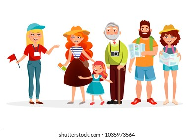 Guide and group of tourists listening her and having an excursion vector illustration in flat design. Various people cartoon characters isolated on white background.