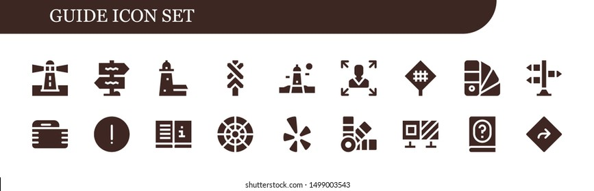 guide icon set. 18 filled guide icons.  Simple modern icons about  - Lighthouse, Signpost, Split point, Road sign, Decision making, Gauze, Advise, Manual, Color wheel