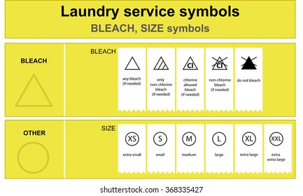 Guide to laundry service symbols. Laundry service bleach and size icon set