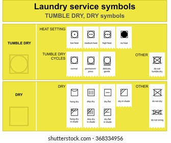 Guide to laundry service symbols . Laundry service dry and tumble dry icon set
