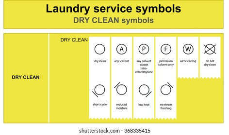 Guide to laundry service symbols. Laundry service dry clean icon set