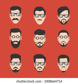 Guide Of Mustache And Bearded Man Faces, Hipsters With Different Haircuts And Glasses, Vector Illustration
