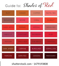 Guide to shades of Red - color palette with names vector
