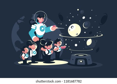 Guide, Teacher with children, schoolchildren in planetarium. Concept educational excursion for people on space. Vector illustration.
