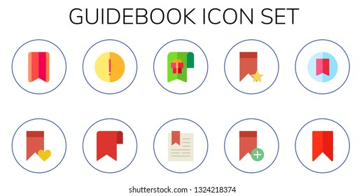 guidebook icon set. 10 flat guidebook icons.  Simple modern icons about  - bookmark, advise