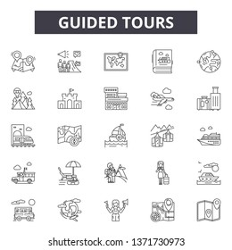 Guided tours line icons, signs set, vector. Guided tours outline concept, illustration: guide,tour,travel,tourism,vacation
