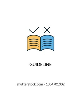 guideline concept 2 colored line icon. Simple yellow and blue element illustration. guideline concept outline symbol design