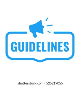 Guidelines. Badge with megaphone icon. Flat vector illustration on white background.