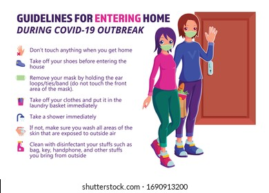 Guidelines for leaving home during COVID-19 outbreak vector illustration