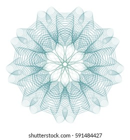 Guilloche art. It can be used as a protective layer for the certificates, diplomas, banknotes. Pattern Rosette for Fake Money or Other Security Papers - Vector Illustration. Digital watermark.