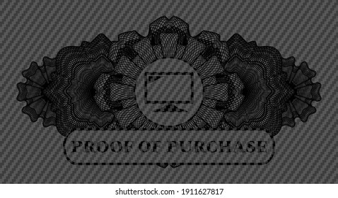 Guilloche decoration screen icon and proof of purchase text carbon fiber dark realistic emblem. Polymer texture classic background. Illustration.
