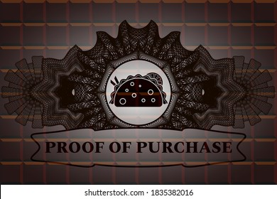 Guilloche decoration taco icon and proof of purchase text chocolate badge. Brown fancy background. Illustration.