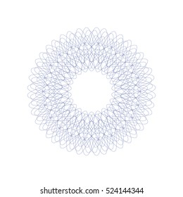 Guilloche decorative rosette element. Digital watermark. It can be used as a protective layer for certificate, voucher, banknote, money design, currency, note, check, ticket, reward etc.