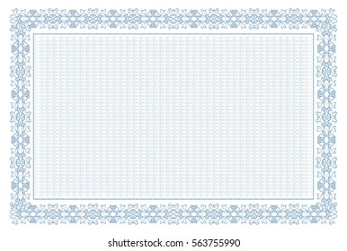 Guilloche. frame. Blue. Template. It can be used for diploma, certificate, banknotes, diplomas.