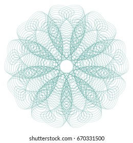Guilloche mandala . It can be used as a protective layer for the certificates, diplomas, banknotes. Spirograph pattern for Fake Money or Other Security Papers - Vector Illustration. Digital watermark.