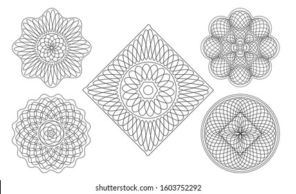 Guilloche ornament. Vector rosette for certificate, diploma, graduation, stocks, business, award, coupon, banknote and banner. Rosette linear watermark for documentation.