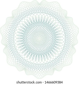 Guilloche pattern. Spirograph ornament. Currency design. Pattern for graduation, business, award, coupon, banknote and banner. Rosette linear watermark  for different certificate.