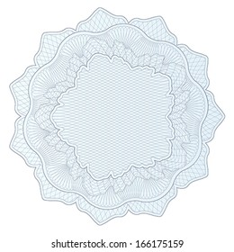 Guilloche pattern, watermark, blue rosette (line elements) for money design, voucher, currency, gift certificate, coupon, banknote, diploma, check, note