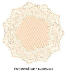 Guilloche pattern, watermark, rosette (line elements) for money design, voucher, currency, gift certificate, coupon, banknote, diploma, check, note