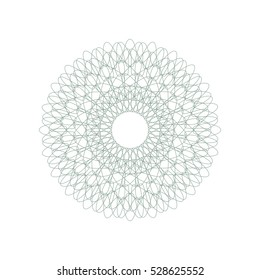 Guilloche rosette element. Digital watermark for Security Papers. It can be used as a protective layer for certificate, voucher, banknote, play money design, currency, note, check, ticket, reward etc.