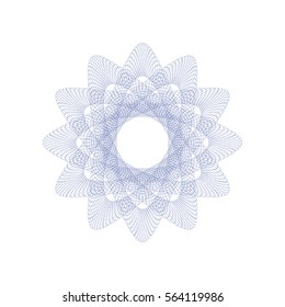 Guilloche rosette element. Digital watermark for Security Papers. It can be used as a protective layer for certificate, voucher, banknote, play money design, currency, note, check, ticket, reward etc