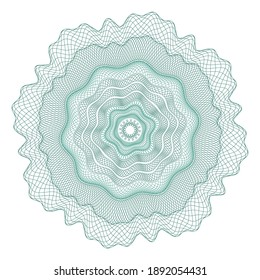 Guilloche rosette, a template for the protection of securities, an ornament in the form of wavy curly lines in the form of a flower