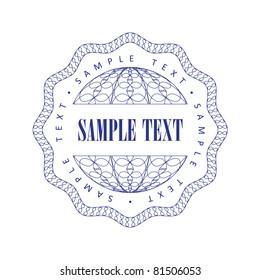 Guilloche seal for the company, vector illustration