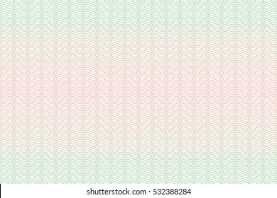 Guilloche seamless background. Guilloche texture with waves in green and red color.Digital watermark for Security Papers, certificate, voucher, banknote, money design, currency, check, ticket etc.