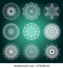 Guilloche set. It can be used as a protective layer for the certificates, diplomas, banknotes. Pattern Rosette for Fake Money or Other Security Papers - Vector Illustration. Sacred geometry.