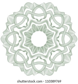 Guilloche vector rosette for certificate or diploma / currency and money design / CMYK color / All lines and colors are easy editable