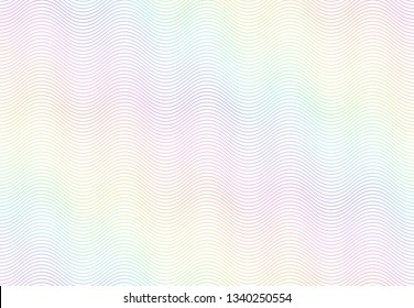 Guilloche watermark texture. Textured passport paper, banknote secure rainbow pattern and color line waves. Monochrome money currency watermark or diploma certificate vector seamless background