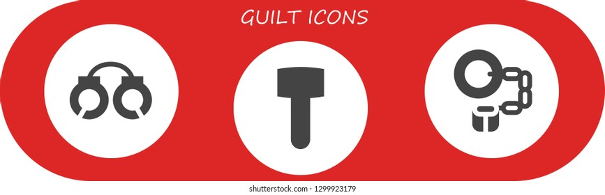 guilt icon set. 3 filled guilt icons.  Simple modern icons about  - Handcuffs, Mallet