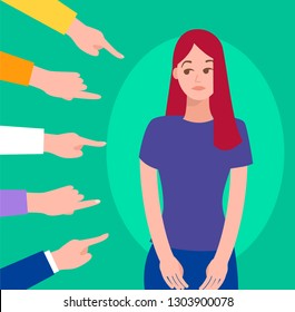 Guilty, ashamed female. Victim women. Depressed girl in shame and hands with pointing fingers. Blame in society vector concept. Woman frustrated, bullying employee illustration