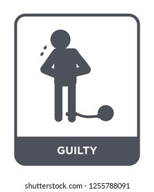guilty icon vector on white background, guilty trendy filled icons from Law and justice collection
