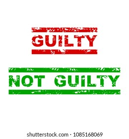 Guilty and not guilty rubber stamp. Badge justified grunge, emphasize grungy text for justice. Vector illustration