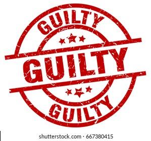 guilty round red grunge stamp
