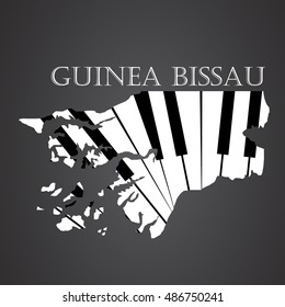 guinea bissau map logo made from piano
