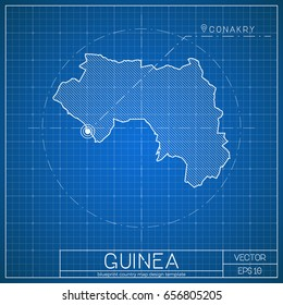 Conakry images stock photos vectors shutterstock guinea blueprint map template with capital city conakry marked on blueprint guinean map vector malvernweather Images