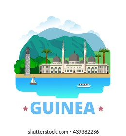 Guinea country design template. Flat cartoon style historic sight showplace web vector illustration. World vacation travel Africa African collection. Grand Mosque Monument Du 22 Novembre 1970 Conakry.