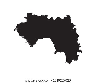 Guinea map vector, isolated on white background. black map template for web site pattern, anual report, inphographics, logo, app, ui, travel. Vector eps10.