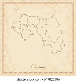 Guinea region map: stilyzed old pirate parchment imitation. Detailed map of Guinea regions. Vector illustration.