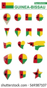 Guinea-Bissau Flag Collection. Big set for design. Vector Illustration.