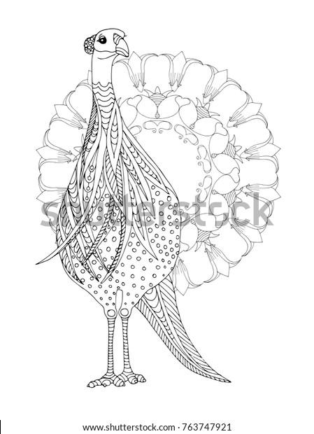 Image Vectorielle De Stock De Oiseau De Guineafow Avec Mandala