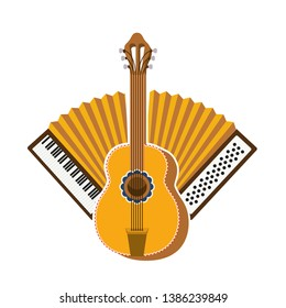 guitar and accordion isolated icon