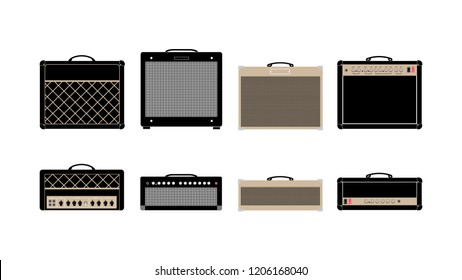 Guitar amplifier and cabinet in flat style